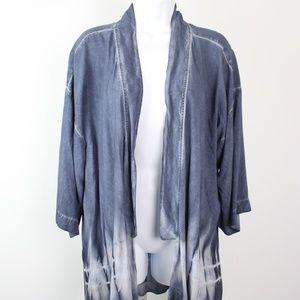 Cloth & Stone blue tie-dye wrap kimono indigo